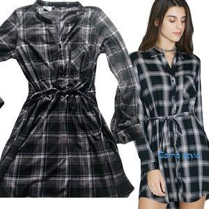 Blue crush mini dress stripe black long sleeves
